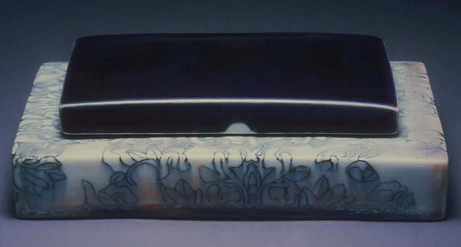 "<i>Immigrant Flowers </i>, porcelain, inlay, c/10 red. fired, h. 2 1/2"" x w. 8"" x d. 5 3/4"", 1998"