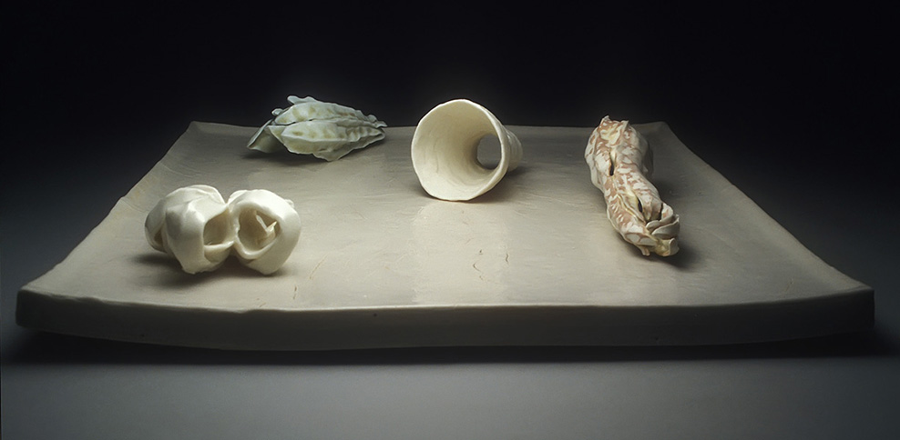 "<i>Memory in Winter</i>, porcelain, h. 4"" x w. 17 1/4"" x d. 17 1/4"", 2002"