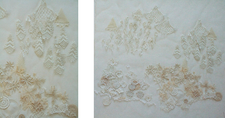 "<i>Toward the Asiatic Hills</i>, doily parts, thread, fabric, h. 29"" x w. 31"", 2010"