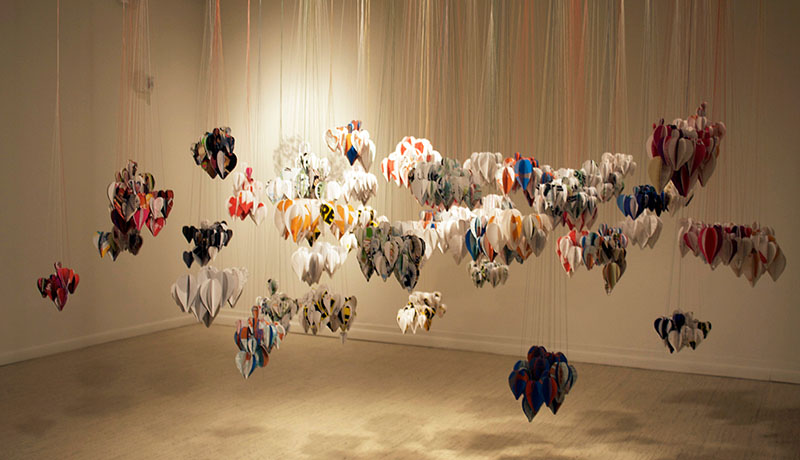 <i>Mongyudowondo</i> (Sleepwalking around the Peach Garden),  Installation View, Oakland University Art Gallery, Rochester, MI, recycled paper, thread, size variable, 2009