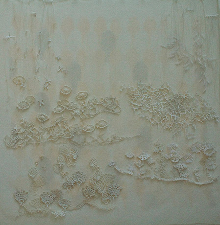 "<i>to the garden path</i>, doily parts, thread, fabric, h. 29"" x w. 27"", 2010"