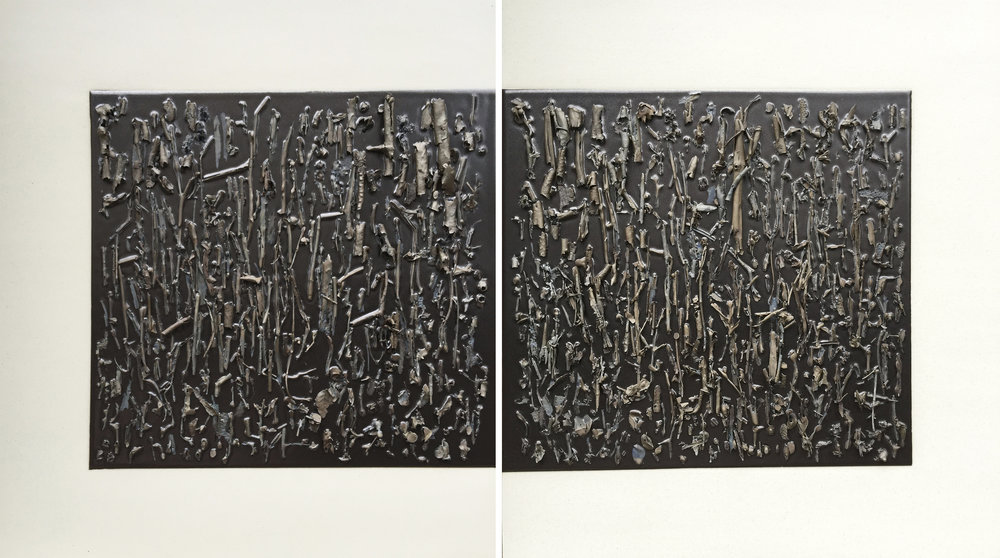 "<i>Dear Mother diptych</i>, 2015, porcelain, glaze, h. 18 ¾"" x w. 35"" x d. 1 ½"""