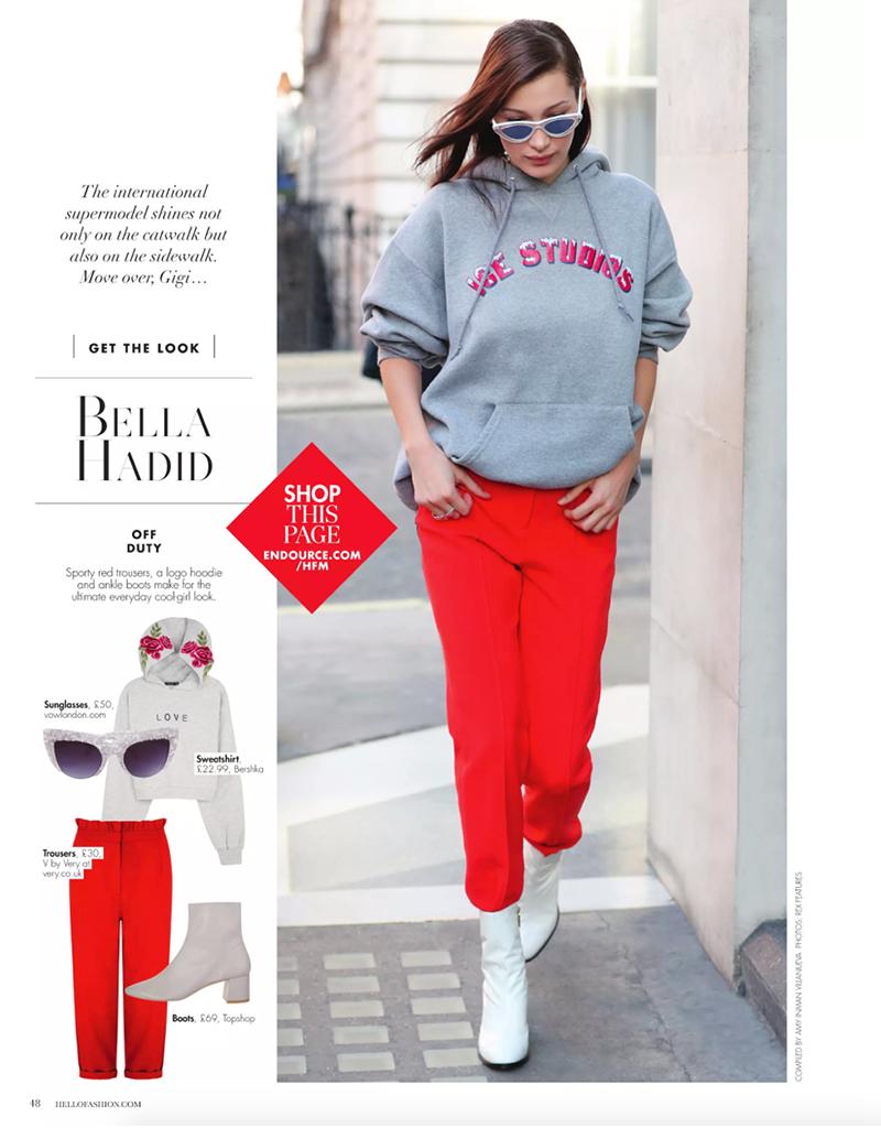 Vow London, Bella Hadid wearing the Mia Sunglasses