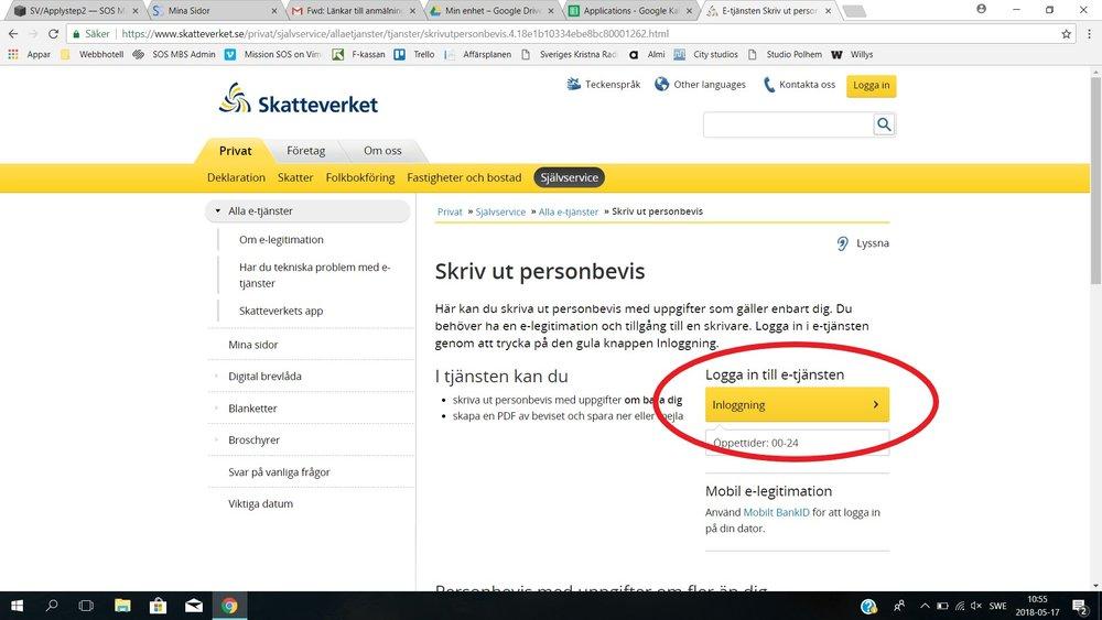 STEG 1   Klicka på den här länken till Skatteverkets hemsida . Den kommer öppnas i ett nytt fönster. Klicka på INLOGGNING