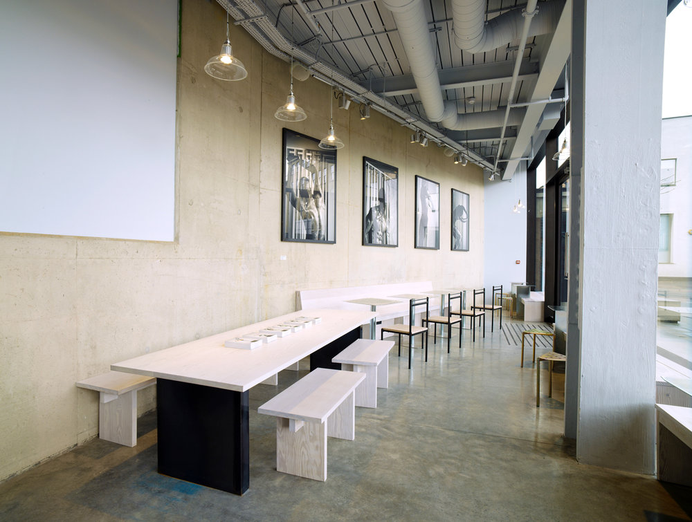 Solid Douglas Fir table top and benches for Blok (Design by Daytrip Studio. Photo by Max Oppenheim)