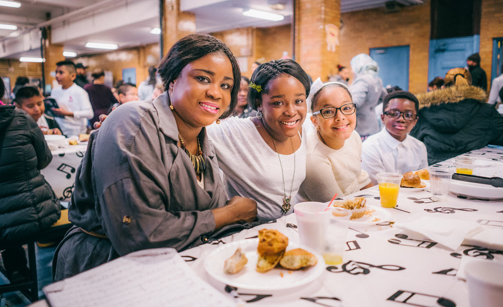 "Family and friends come together during P.S. 91x's ""Breakfast with the Orchestra"""