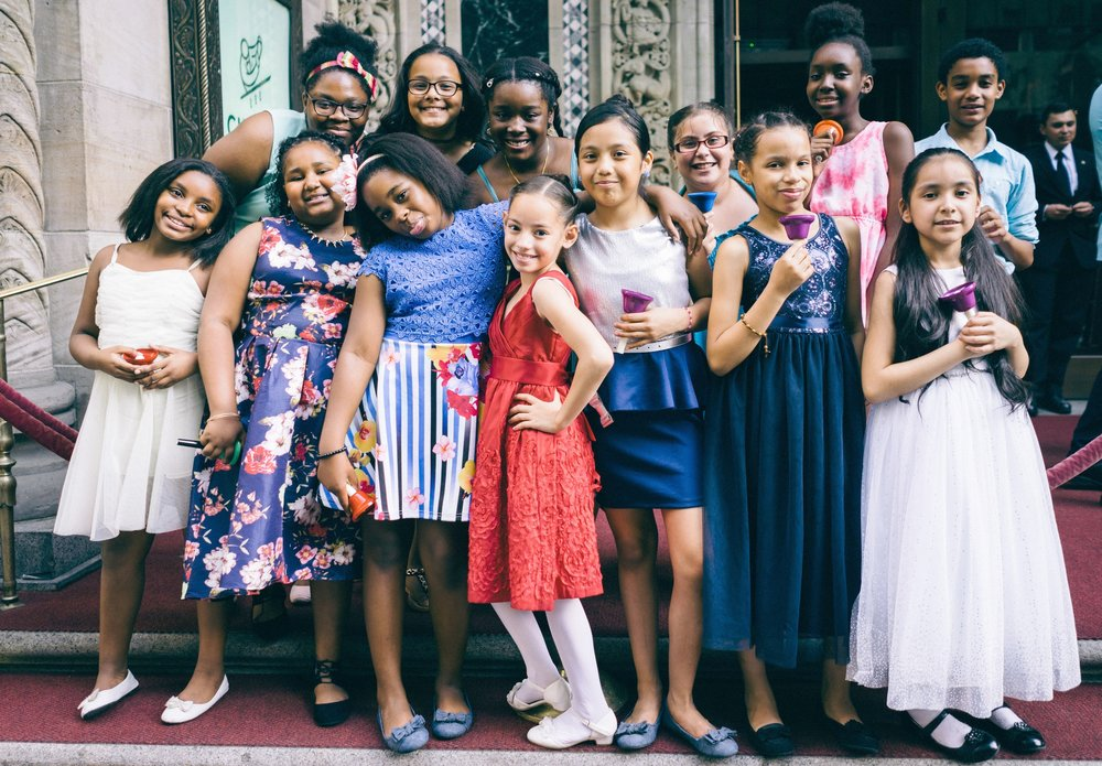 Members of the P.S. 91x Select Choir arrive at Cipriani in Midtown Manhattan where they shared the stage with Joshua Bell and Reneé Fleming during the Education Through Music Gala during the 2016-2017 school year.