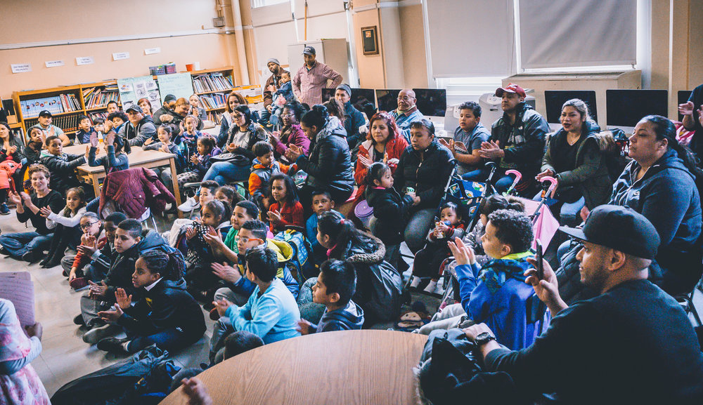 "It was a ""full house"" at the P.S. 91X library."