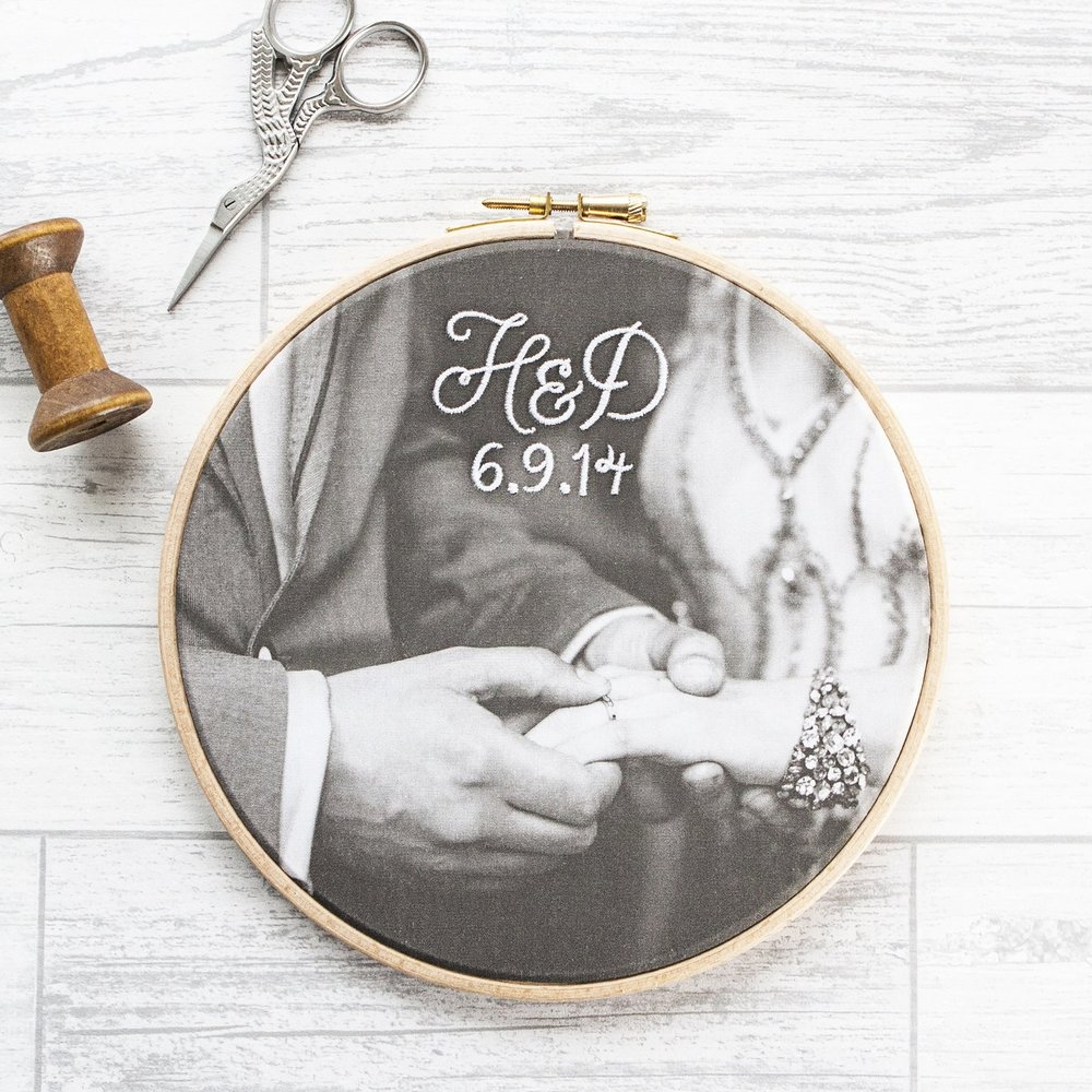 Machine-embroidered cotton photo hoop — House of Whatnot - award ...