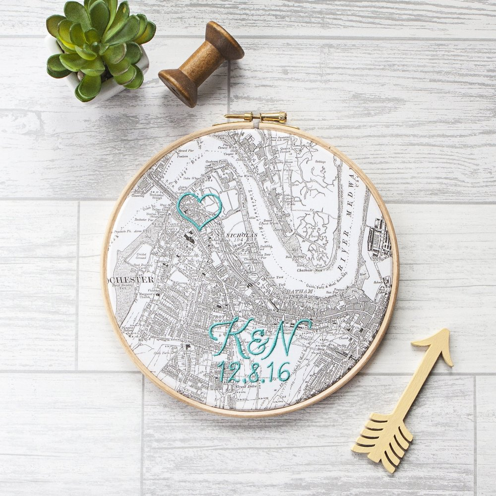 Machine-embroidered cotton map hoop — House of Whatnot - award ...