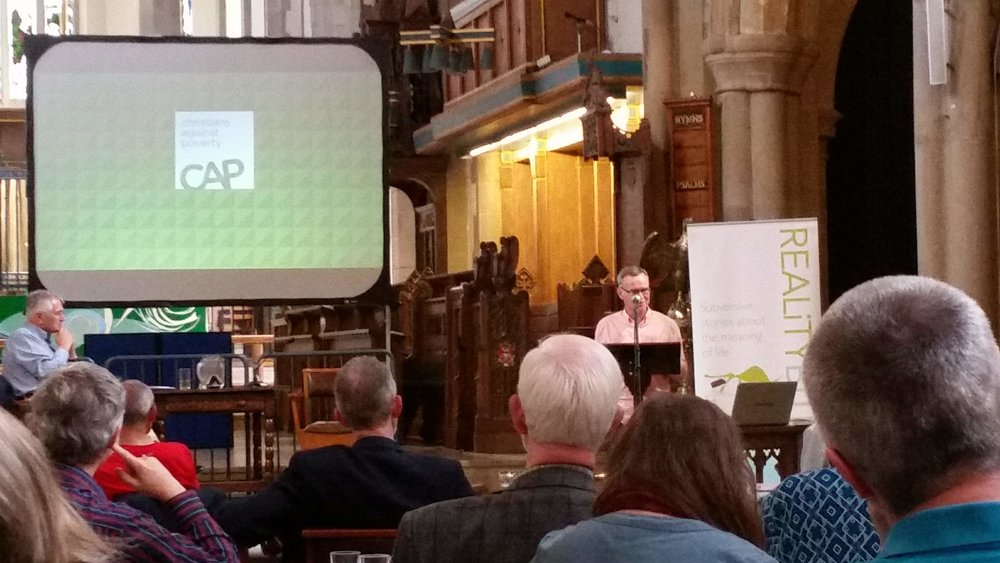 The Faith in Business conference at Bradford Cathedral, Saturday 14th October. John Kirkby, founder of Christians Against Poverty, (CAP) featured in the photo above