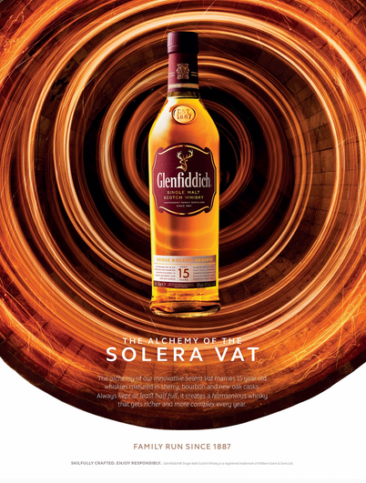 GLENFIDDICH SOLERA RESERVE  Agency - Purple Creative Client - Glenfiddich Director – Gary Westlake Project Manager – Sasha De Caires Art Director – Shang-Dat Tang Photographer - Jonathan Knowles