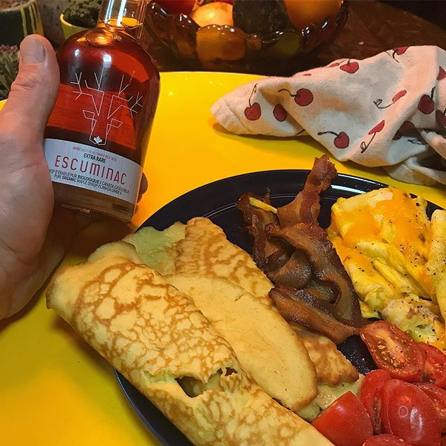 Problem leaving alone' you gotta make your own #crêpes  but at least I got the real deal #canadianmaplesyrup #brunch #familybusiness #escuminac