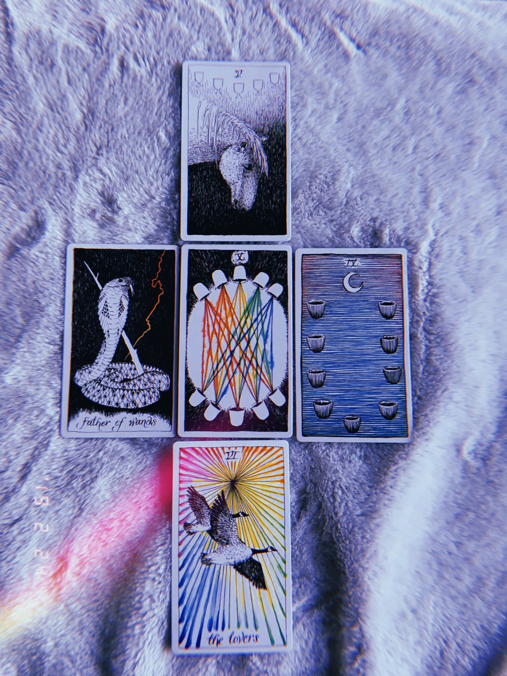 I drew two more cards and got this powerful five card reading