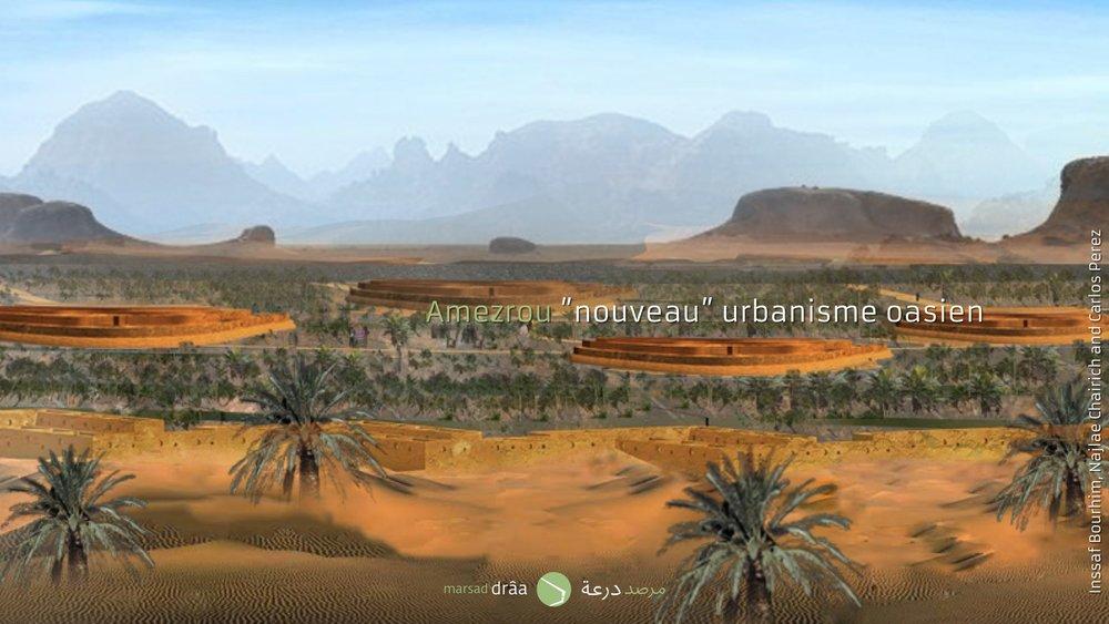 Le type d'urbanisme proposé ne sera pas très distant de celui que l'on trouve dans la vallée du Drâa, dont la plus part de ksour sont à l'intérieur de la palmeraie, où les contraintes climatiques sont plus douces qu'à l'extérieur.