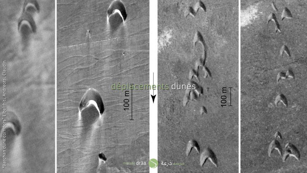 Des recherches approfondies ont été faites sur la région de Laâyoune, afin d'étudier la forme géométrie des dunes et ses mouvements. La forme de ces dunes, est très similaire à celle des dunes qui s'approchent à Amezrou.