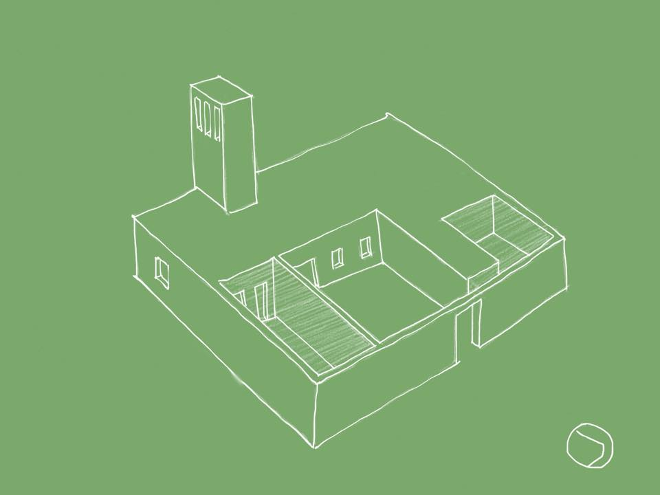 Sketch of the Community Center. This projet has been developed some weeks before the workshop with Karen Hadfield, Hind Habsaia, Hind Oudrhiri and Carlos Perez Marin. And we continue to develop it...