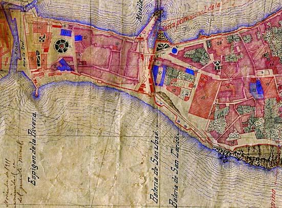 El espacio a tratar visto sobre un plano de la Ciudad del siglo XIX.