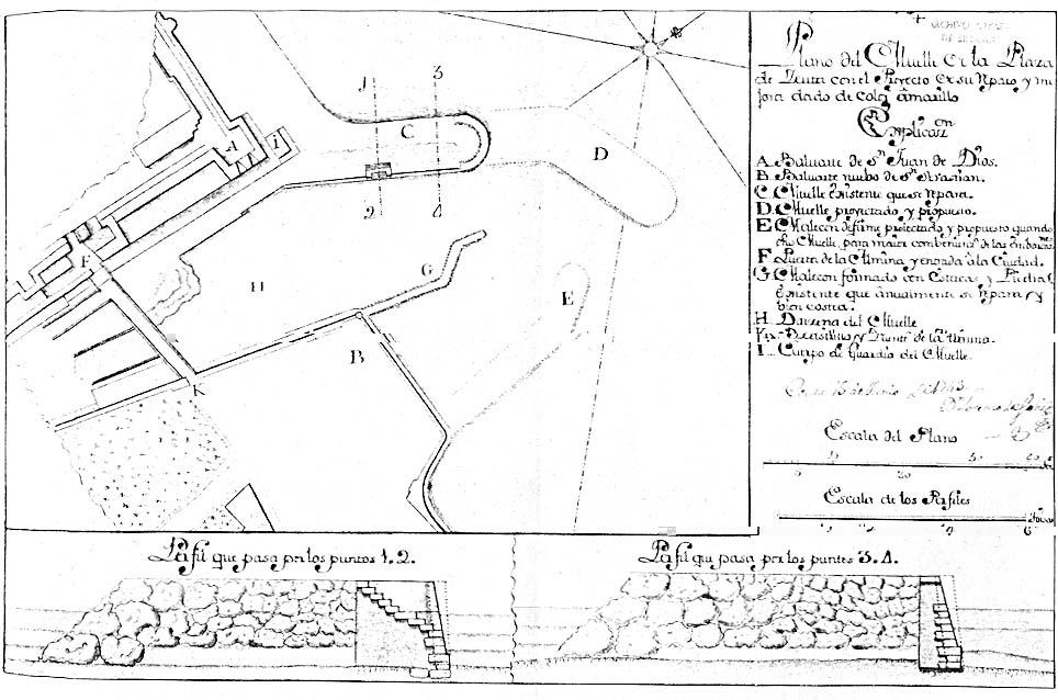 Plano de la embocadura del Foso de la Almina y puerto proyectado en él por Lorenzo de Solís.