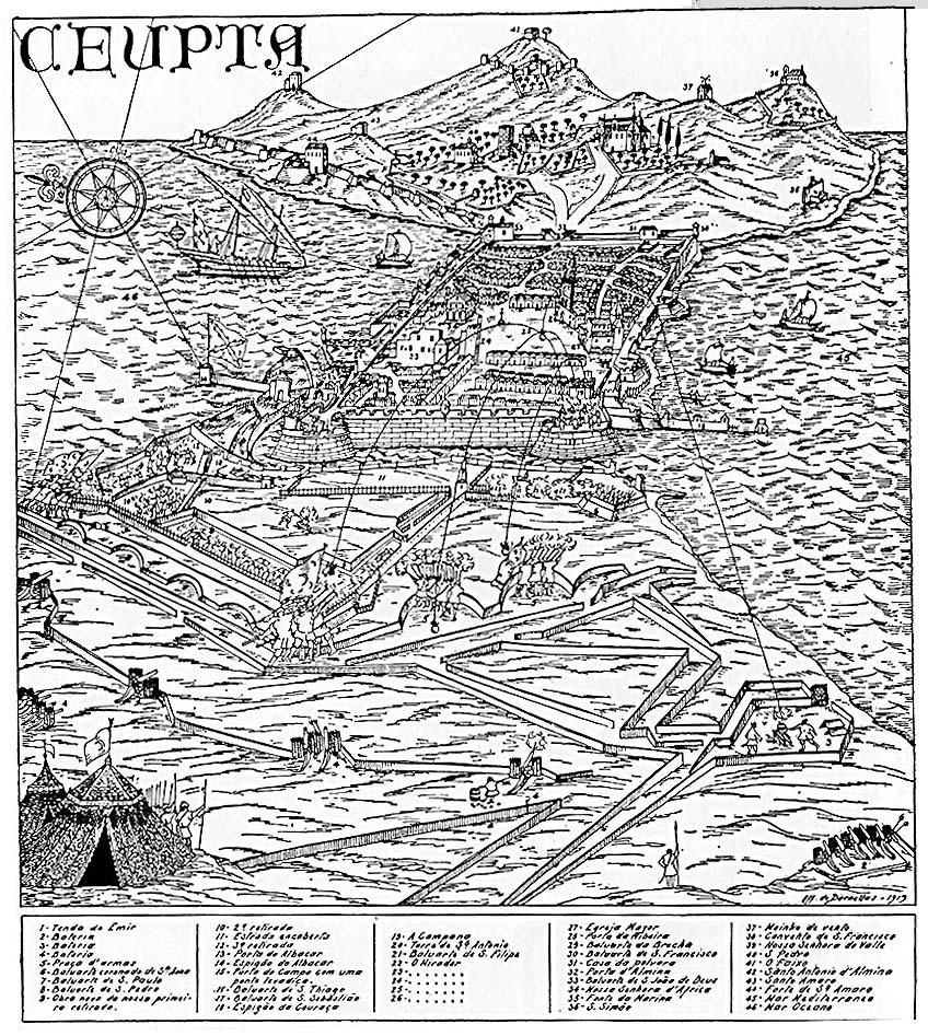 Grabado del Cerco de Muley Ismail (1694-1727) que muestra la Ciudad en los últimos momentos de la contienda, con la muralla norte torreada y el Miradouro según copia de Affonso de Dornellas de 1919.