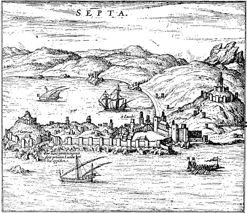 Ceuta en el Civitatis Orbis Terrarum, en cuyo alzado pueden verse las murallas medievales reforzadas por torres de planta cuadrangular.