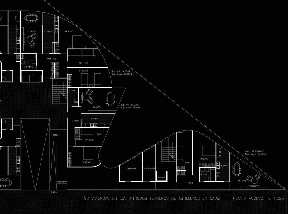 🅒 92 social dwellings, calle América, Cádiz (Spain) 1998