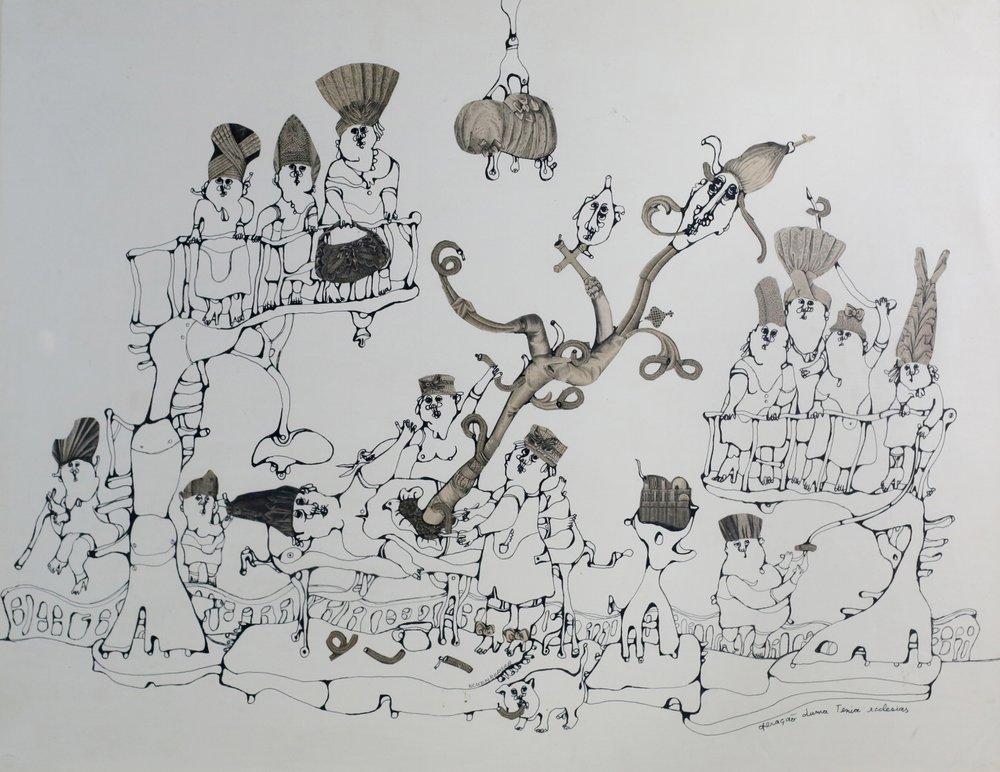 A montagem da exposição aposta no acúmulo de informações, seguindo a linha de criatividade do artista
