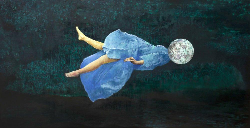 Bruno Vilela, Fio-de-prata, 2016, óleo sobre tela, 90 x 200 cm