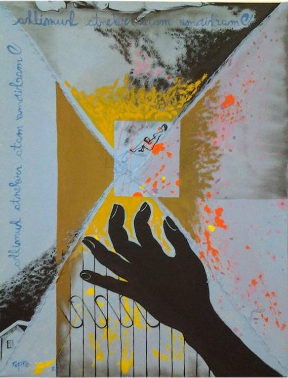 Ropre, Do lar, 2017, pintura acrílica s algodão cru costurado s chapa MDF 0,6, 46x34 cm