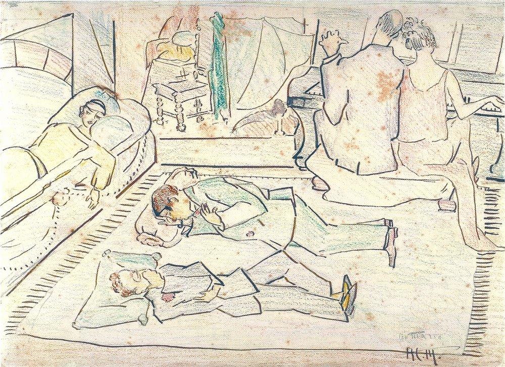 Anita Malfatti, Grupo dos Cinco, desenho. 1922. A artista retrata ela mesma, no sofá; Oswald e Menotti no chão e Tarsila e Mário ao piano. Modernistas, eles agitaram a sociedade conservadora no Brasil