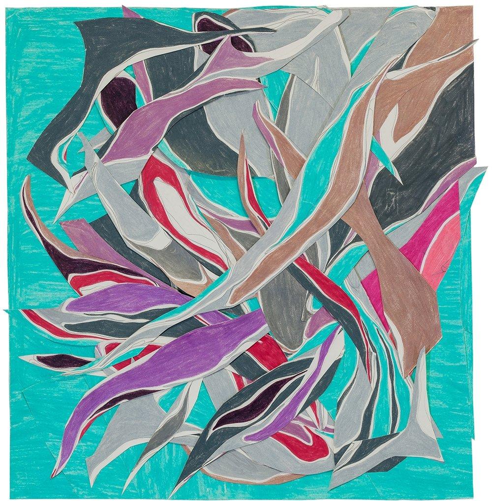Marcia de Moraes, As escamas, desenho, grafite e lápis de cor