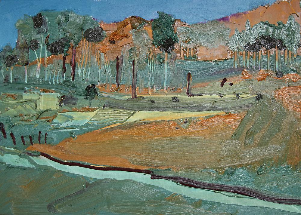 Gilvan Nunes,Km166 Landscape, 2015, óleo sobre tela, 50 x 70cm