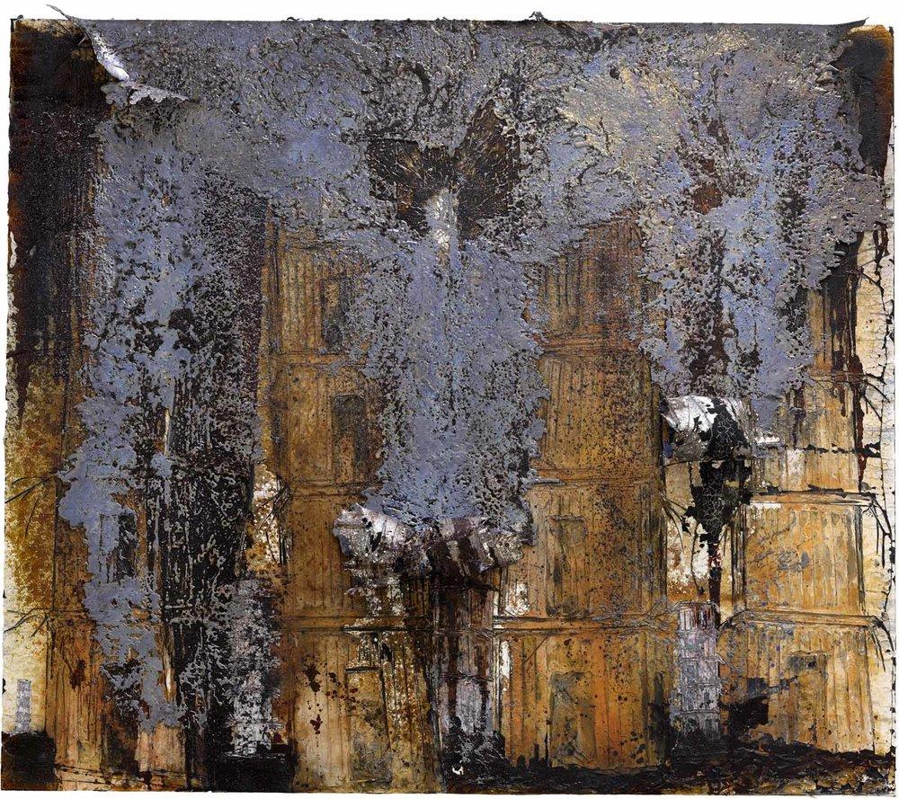 """O alemão Anselm Kiefer (1945) mostra obras recentes inspirado em Rodin como """"Auguste Rodin: as catedrais da França"""", 2016, 380 x 380 cm, óleo, acrílico, emulsão, goma-laca s/lona"""