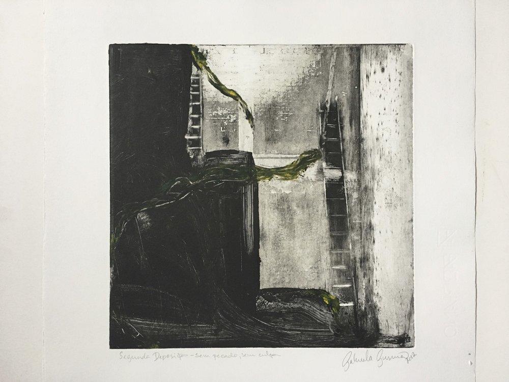 Gabriela Gusmão, Sem Pecado Sem Culpa, 2012,série Segunda Deposição, monotipia,36x32 cm