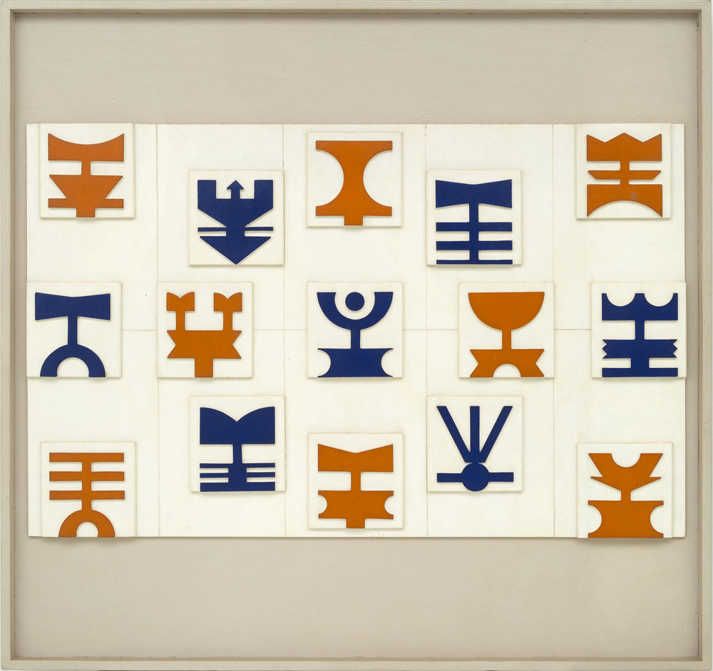 """Berenice Arvani traz Rubem Valentim (Painel Emblemático, 1984, protótipo, madeira pintada, 71x75 cm) que foi selecionado para o novo setor dos renomados chamado de """"Repertórios"""""""