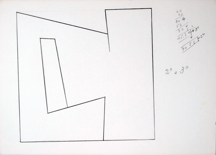 A exposição inclui esboços feitos por Amilcar de Castro em processo criativo na década 1980