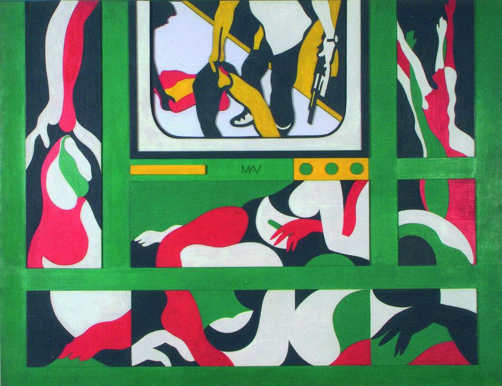 Teresinha Soares, Morreu tantos homens e eu só, 1968, série Vietnã, técnica mista, 117x152,5 cm