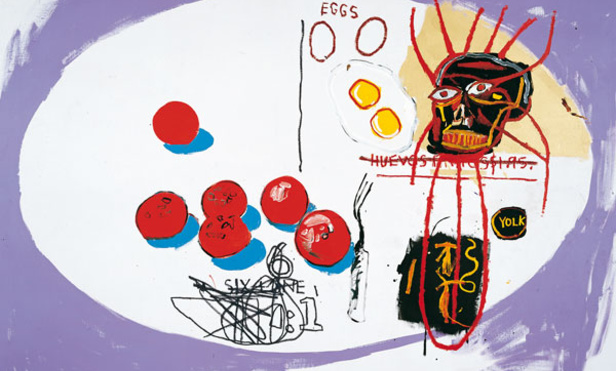 Andy Warhol and Jean-Michel Basquiat, Eggs, acrílica sobre tela, 80 x 111 cm, 1985