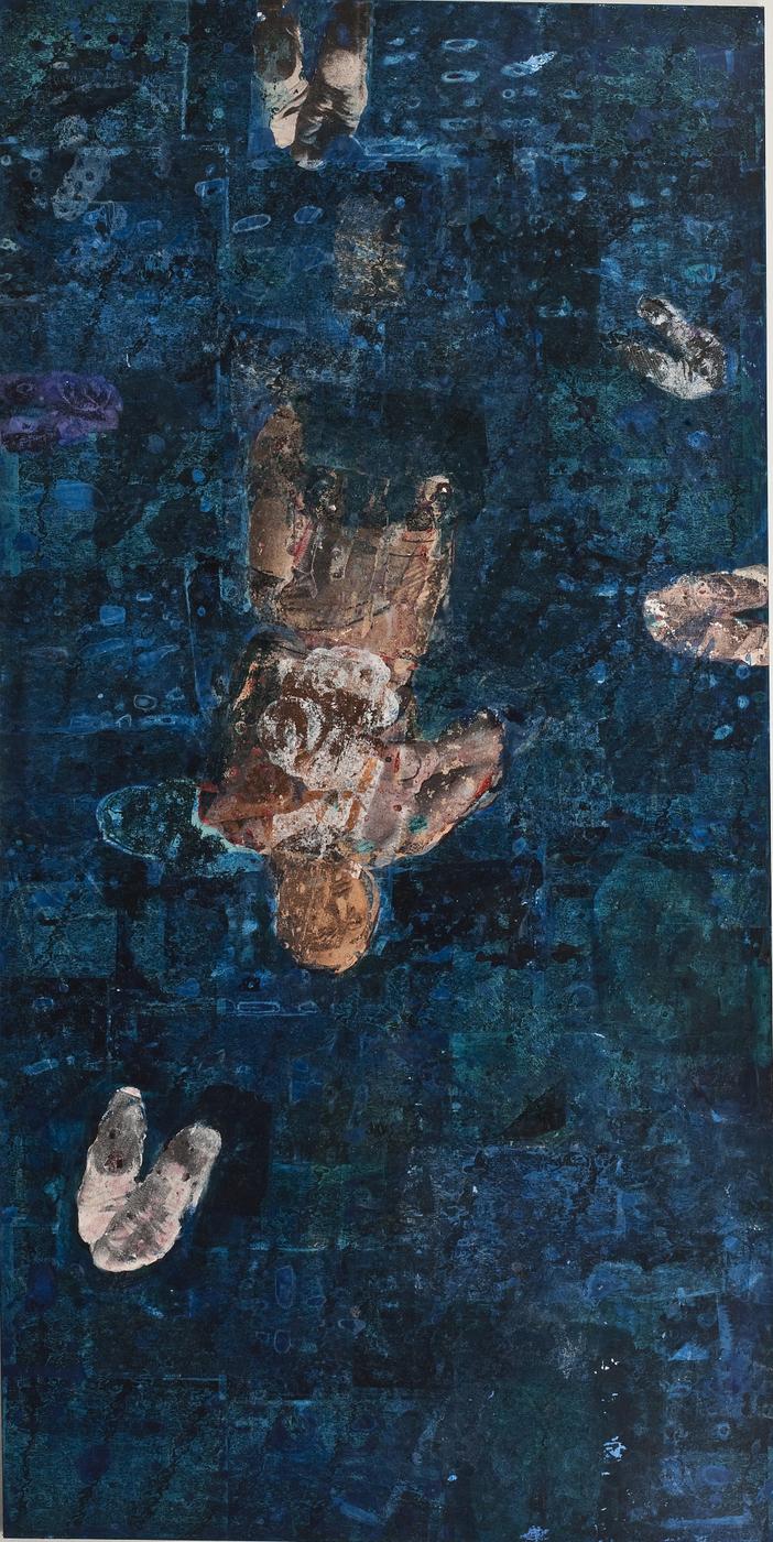 Luiz Pizarro, Salto, 2008, acrílica sobre tela, 200 x 100 cm