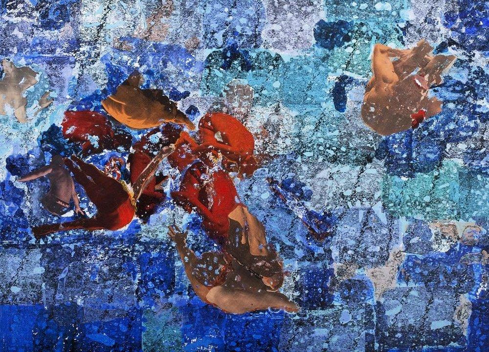 Luiz Pizarro, Mergulho em mar aberto, 2010,acrílica sobre tela e colagem, 120 x 160 cm