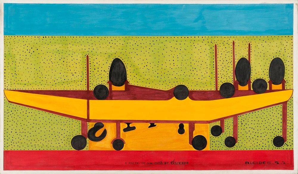 Alcides Pereira dos Santos, A frente de um avião de guerra, 1997, acrílica sobre tela, 90x148 cm