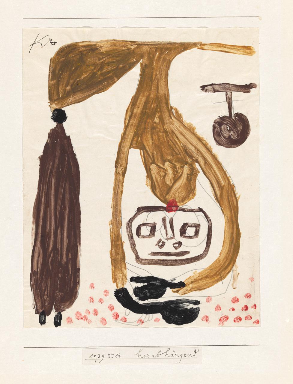 Paul Klee, herabhängend, 1939, 674 - Hanging Down/Pendurado para baixo - coloured paste and pencil on paper/cola colorida e lápis sobre papel, 27 x 21,4 cm - Zentrum Paul Klee, Berna, doação de Livia Klee
