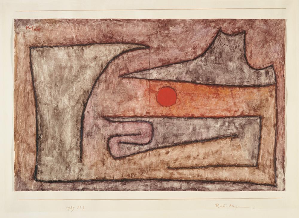 Paul Klee, Rot-Aug, 1939, 129 - Red Eye/Olho vermelho - watercolour on primed paper on cardboard/aquarela sobre papel revestido sobre cartão, 26,8 x 42,1 cm - Zentrum Paul Klee, Berna