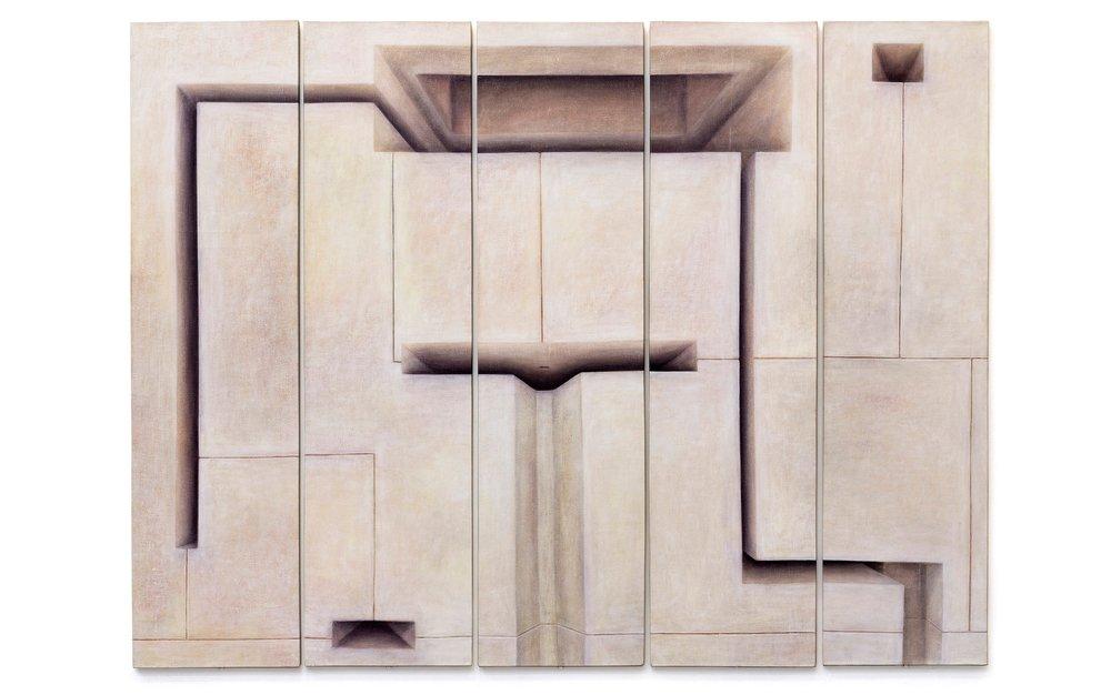 Adriana Maciel, Sem título-políptico de 5 partes, 2006, 5 x (200x 50 cm)