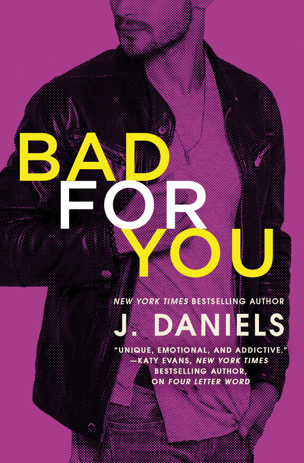 "BAD FOR YOU ~ A Dirty Deeds Novel ~ BY J.Daniels    Release Day: January 23, 2018    ""If you're a fan of Kristen Ashley, then you will love this book."" -Aestas Book Blog on Four Letter Word    He didn't want to be bad. He just didn't have a choice...    Shayla Perkins isn't the kind of girl who makes the same mistake twice, especially when it comes to Sean ""Stitch"" Molina. So when he gives her the world's biggest rejection, that's it--she's done. Until the sexy, silent, unavailable Sean makes Shay a very personal offer. Of course, it still doesn't mean he's interested in her. Or does it?    Sean has done things in life. Bad things. And he's paid the price. All he wants now is to make up for his past by doing good in the present. And no one deserves more good than Shay. Beautiful on the inside and out, Shay is the kind of woman who should be cared for and protected--especially from a man like Sean. He's tried to keep his feelings for her in check, but a single, reckless impulse pulls them closer than ever before.    Soon the two are sharing their biggest dreams and satisfying their deepest desires. But what will happen if the only way to truly give each other what they want most...is to let each other go?    ""The perfect mix of funny, hot and heartwarming. I enjoyed it immensely!"" --Mia Sheridan, New York Times bestselling author, on Four Letter Word"
