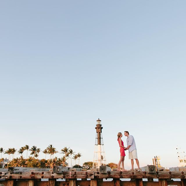 Who wouldn't want to kiss by a lighthouse.  Teresa + Doug's big day is here.  Let the wedding-ing begin! . . #onthewater  #lighthouseengagement  #hillsboroinlet  #hillsboroinletengagement  #lighthouse  #hillsborolighthouse  #hillsborolighthouseengagement  #newlyengaged  #southfloridaengagement  #oceanengagement #radlovestories