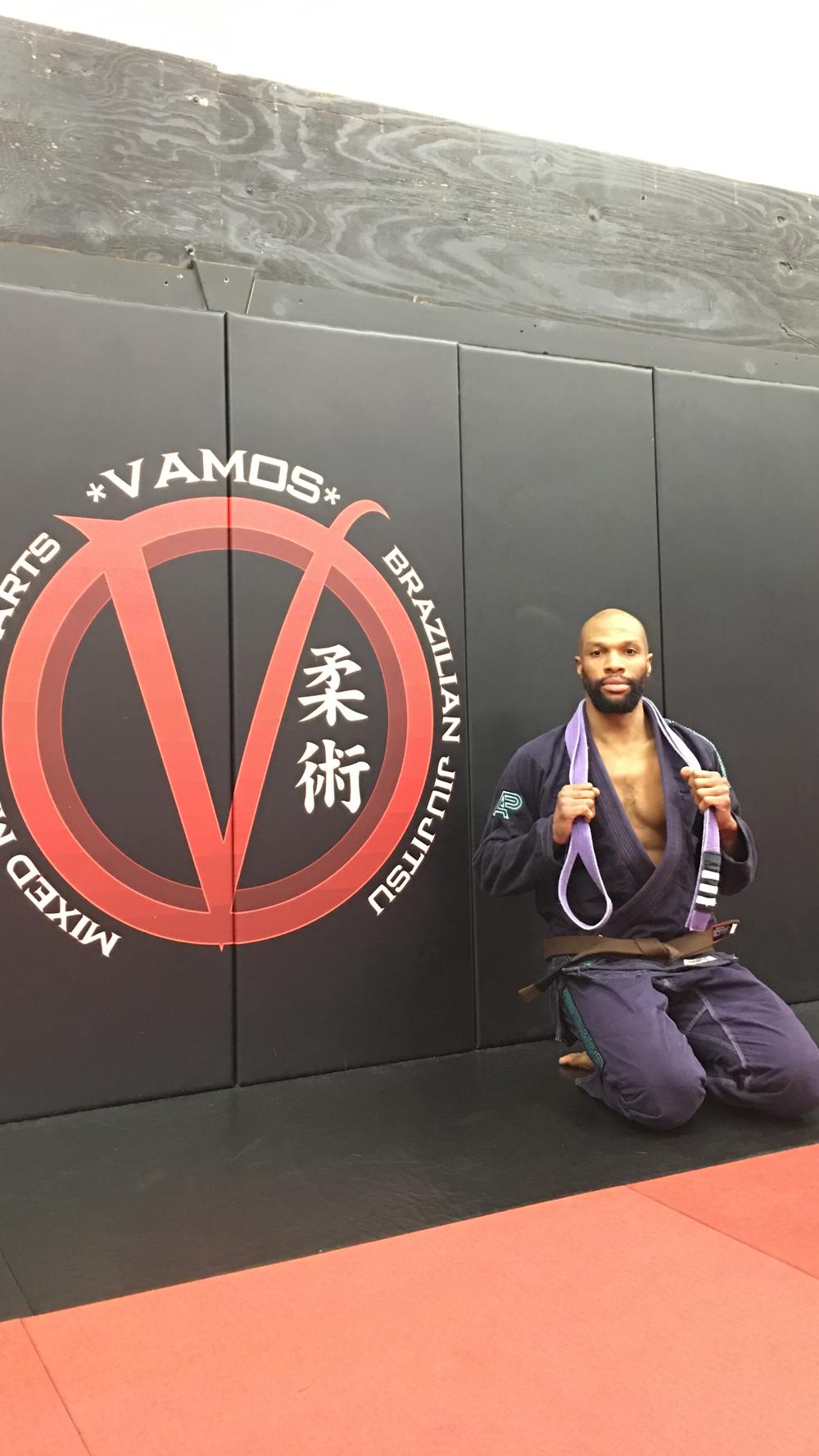 "Kyle ""The Rolling Rev"" Watkins after being promoted from purple belt (around neck)to brown belt (around waist), December 3, 2016"