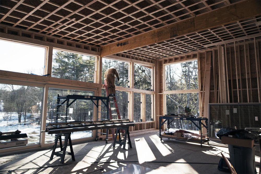 Construction Administration Phase:  Site Visit during framing at Lincoln Net Zero