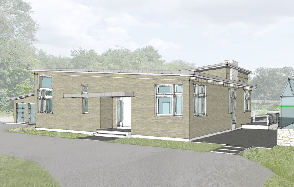 Early Conceptual Sketch Rendering of Lincoln Net Zero House