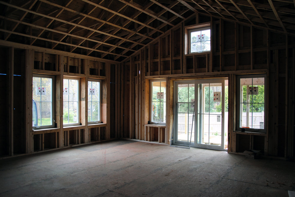 View of LIving Room - Double Framed Wall and Triple Glazed windows.